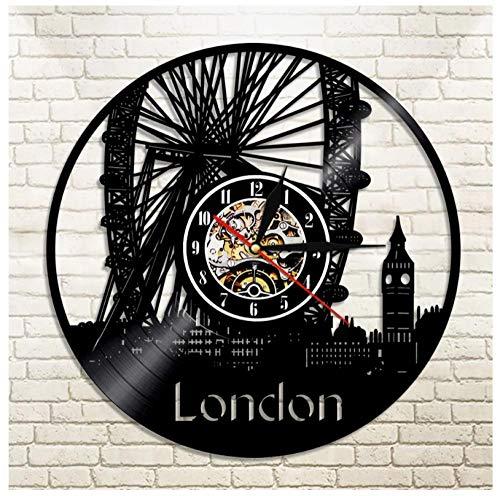 Relógio com tema de música britânica de arquitetura musical, ideia de presente para amantes de música, homens, mulheres, adolescentes e crianças, arte com tema vintage exclusivo, preto, 30 cm