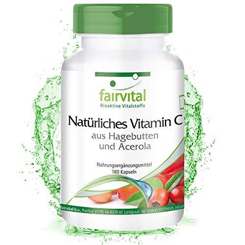 Vitamina C Natural de Acerola y Escaramujo - VEGANA - 180 Cápsulas - Calidad Alemana