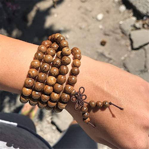 YEESEU Pulsera de los Hombres 108 Tibetan Budista Oración Rosario Charm Mala Meditación Flor de la Vida Lucky Wenge Pulsera de Madera para Las Mujeres (Metal Color : Brown)