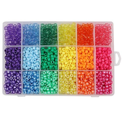 Kurtzy Pony Beads (2300 Stuks) - Gesorteerd 6mm, Gekleurd Plastic Kralen met Organiser Doos - Transparante Pony Beads Voor Ambachten, Armbanden Rijgen en Kettingen, Sleutel Hangers en Sieraden Maken