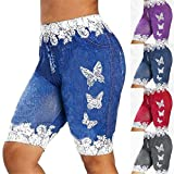 JPLZi Leggings for Women Butterfly Printed Denim High Waisted Capri Cropped Yoga Pants Jeans Denim Stretch Workout Shorts(Blue,X-Large)(A-Blue,X-Large)