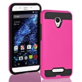 BLU Studio X8 HD (2019) case, Tough Hybrid + Dual Layer Shockproof Drop Protection Metallic Brushed Case Cover for Studio X8 HD (2019) (Pink)