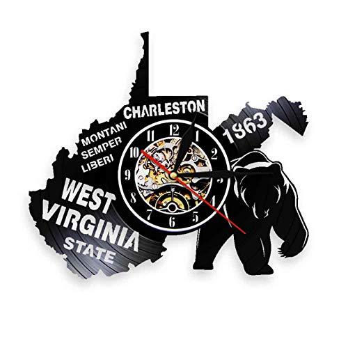 KDBWYC Reloj de Pared con Disco de Vinilo de Virginia Occidental de EE. UU. Wayfarer, decoración de Oficina geográfica de EE. UU, Reloj de Cuarzo silencioso, Reloj de Pared sin LED
