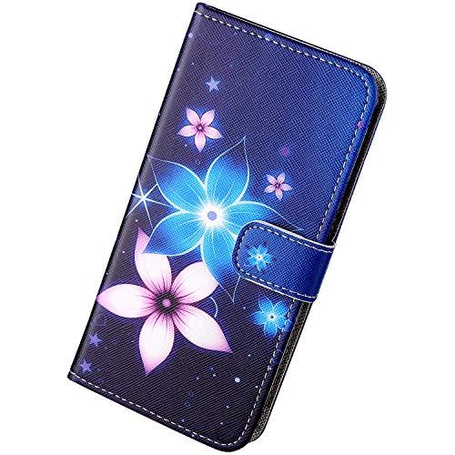 Herbests Kompatibel mit iPhone X/iPhone XS Hülle Schutzhülle Leder Handyhüllen Retro Cartoon Muster Flip Wallet Case Cover Klapphülle Ledertasche Handytasche Kartenfach Magnet,Blau Blumen