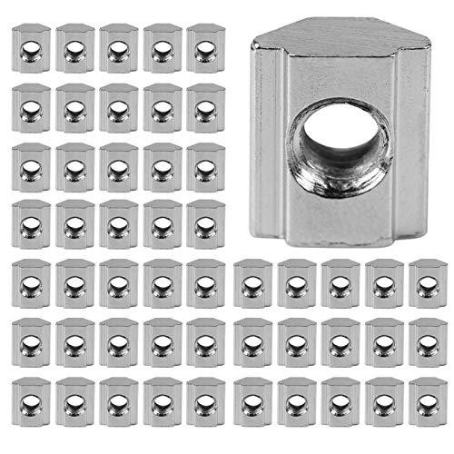 50 unids/lote tuerca de ranura en T deslizante de acero al carbono recubierto de níquel para accesorios de perfil de perfil de extrusión de aluminio(EU30-M6)