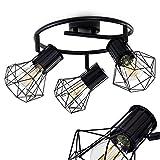 Deckenleuchte Bardhaman, runde Deckenlampe aus Metall in Schwarz, 3-flammig, mit verstellbaren Strahlern, 3 x E27 -Fassung max. 40 Watt, Spot im Retro/Vintage Design, für LED Leuchtmittel geeignet