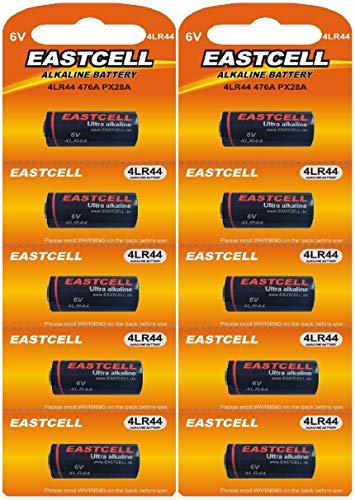 10 x 4LR44 6V (2 Blister a 5 Batterien) Quecksilberfreie Alkaline Batterien PX28, 4G13, 476A, L1325 Markenware EINWEG EASTCELL FBA