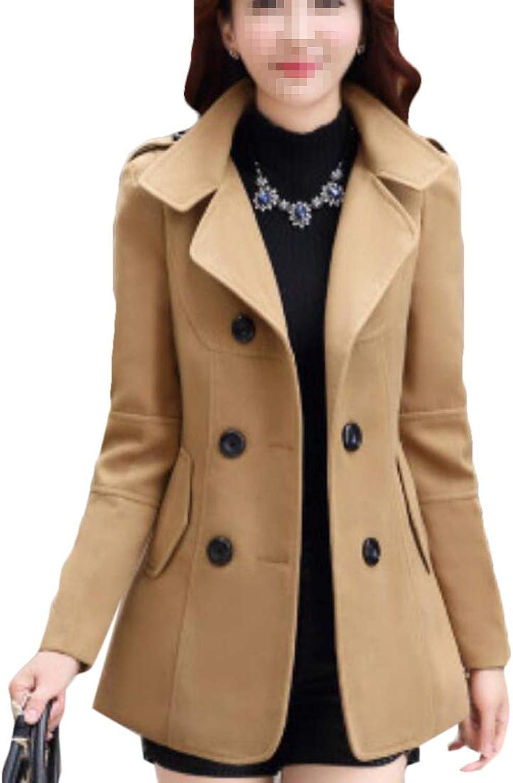 Frieed Women's Woolen Pockets DoubleBreasted Warm Long Trench Coat