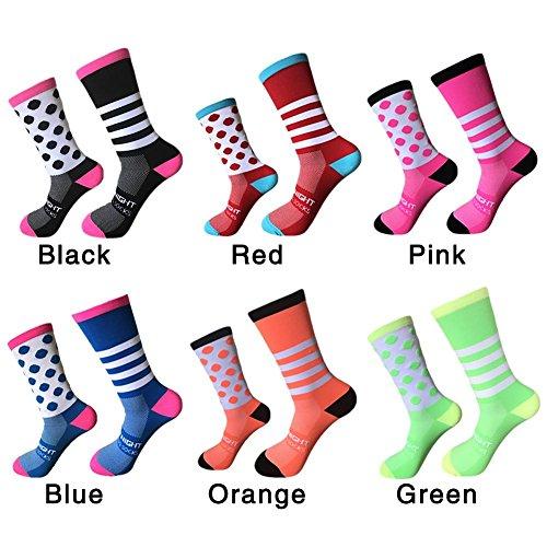 elec tech Socke Damen Herren Sportsocken Tennis Socks Fußball Socken Bunt Wellenpunkt Midrohrsocken Feuchtigkeit Wicking Fahrräder Socken,1 Paar,One Size 39-45
