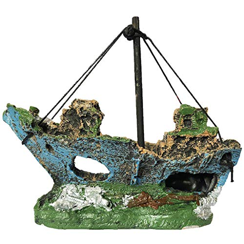 FiedFikt Kunstmatig Landschap Aquarium Hars Piraat Schip Wrak Schip Decor Boot Ornament Decoratie Aquarium Ornament Verbergen Grot voor Vistank