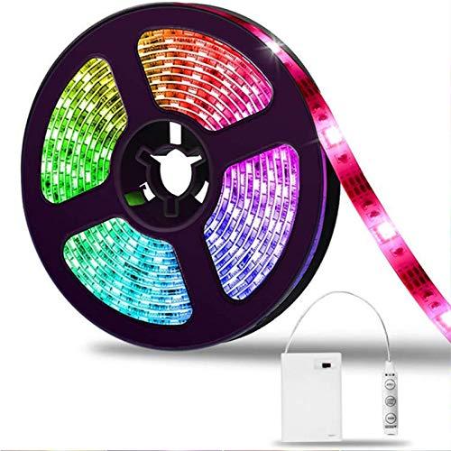 LED Strip 2m, SOLMORE LED Streifen Stripe Batterie 5050 RGB Lichtleiste Farbwechsel Lichtband dimmbar Wasserdicht IP65 für Party Geburtstag Bar Weihnachten Deko (Battery Box nicht wasserdicht)