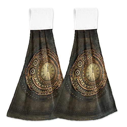 Arte Antiguo Reloj Dorado Toalla de Mano Toallas para Baño Cocina Hombres Mujeres Casa Decoración