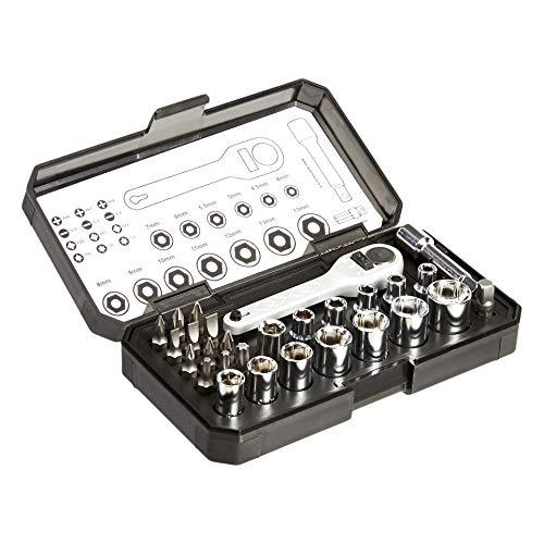 Amazon Basics - Set da 28 pezzi con chiavi a cricchetto e punte