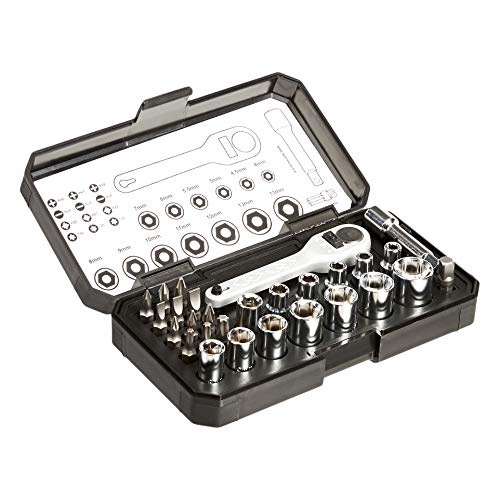 AmazonBasics - Set da 28 pezzi con chiavi a cricchetto e punte