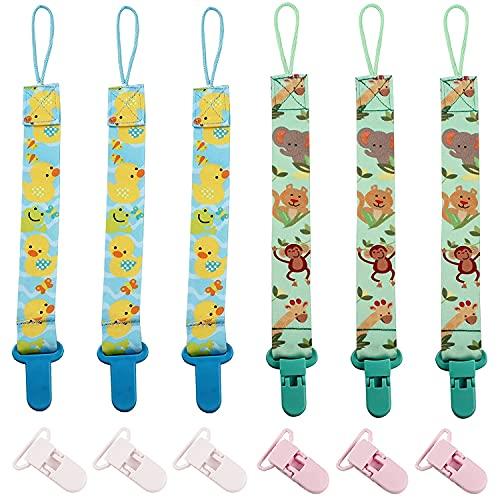 TouGod 6PCS cadenas para chupete con adaptador de chupete de silicona suave con clip para chupete y anillo para chupete de pezón, 6 unidades