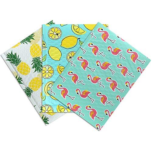 UCGOU - Buste imbottite con motivo misto, 10 x 20 cm, 60 pezzi in totale, 20 pezzi in 3 diversi stili (limone, fenicottero, anananas)