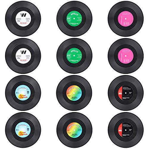 Coolty 12 Stück Retro Vinyl Schallplatten Untersetzer, Rutschfeste Tasse Matte, Isolierte Kaffee Getränke Untersetzer für Tassen Tisch Bar Glas Gläser, 10 * 10 * 0.2cm (Stil A)