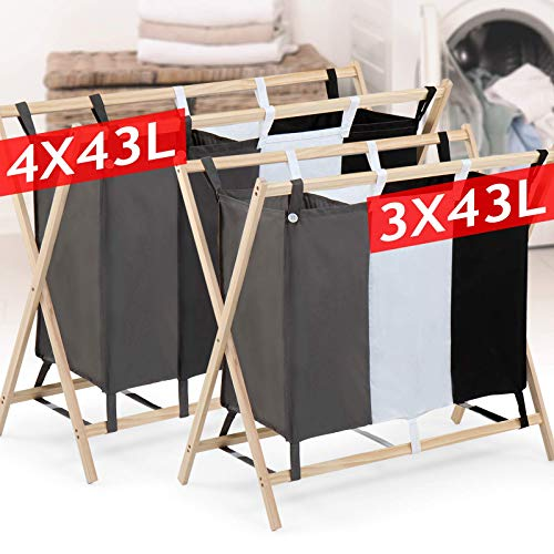 Wäschesortierer - 3 Fächer aus Stoff, dreifarbig, faltbar, Gestell aus Holz, stabil, 128 L Volumen, Größe (L/B/H): 75/40/72 cm - Wäschebehälter, Wäschebox, Wäschekorb, Wäschesammler für Kleidung