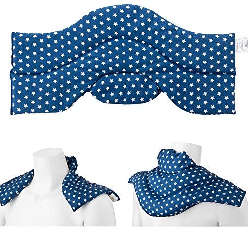Aminata BALANCE Rapssamenkissen Schulter-Nacken-Kissen Wärmekissen mit Raps-Samen für Mikrowelle geeignet für Wärme- & Kälte-Anwendung, Nackenhörnchen Sterne blau Stehkragen für den perfekten Sitz