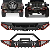 OEDRO Front & Rear Bumper Compatible with 2018-2021 Jeep Wrangler JL JLU, Off-road Full Width Guard