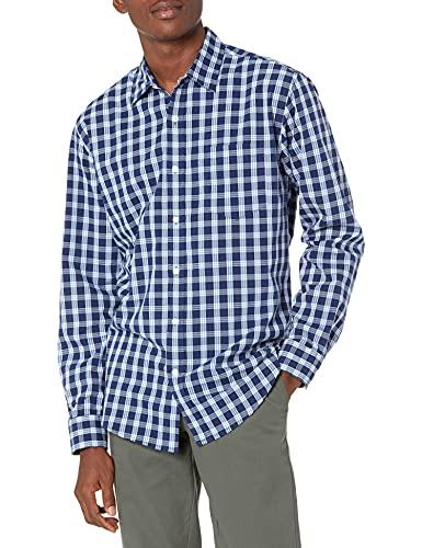 Amazon Essentials Long-Sleeve Regular-Fit Casual Poplin Shirt Camicia, Blu, Motivo Scozzese, XXL