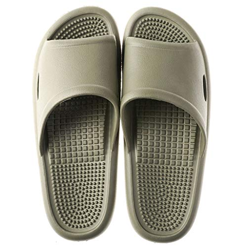 BIKINIV Massage Sandals Reflexology Slippers for Better Health Bathroom Shower Slippers with Shock-Absorbing, House Shoes Spa Footwear Health Sandals (8-9 M US Women/7-8 M US Men, Gray)