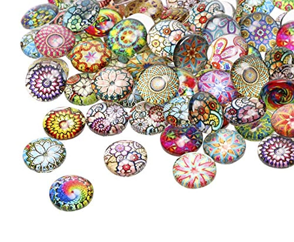 Penta Angel 12mm 100Pcs Round Glass Dome Cabochons Tiles Mix Color Pattern Printed Gems Glass Dome for DIY Craft Photo Charms Cameo Pendants Jewelry Making Handcraft Scrapbooking (Mosaic)