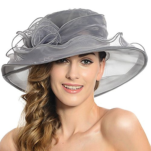 Women's Sheer Wide Brim Sun Party Church Wedding Floral Organza Hat(Dark Grey)