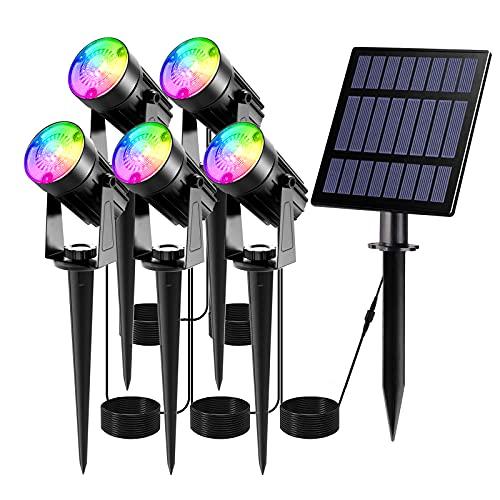 Luces Solares Jardín T-SUN 5 en 1 LED Foco con Panel Solar RGB 7 Cambio de Color 2 Nivels Brillo Ajustables Impermeable IP66 270º Gran Angular de Luz Iluminación Exterior para Camino Césped Entrada.