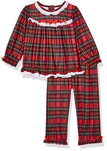Little Me Girls' Toddler Xmas Plaid Pajamas, 3T