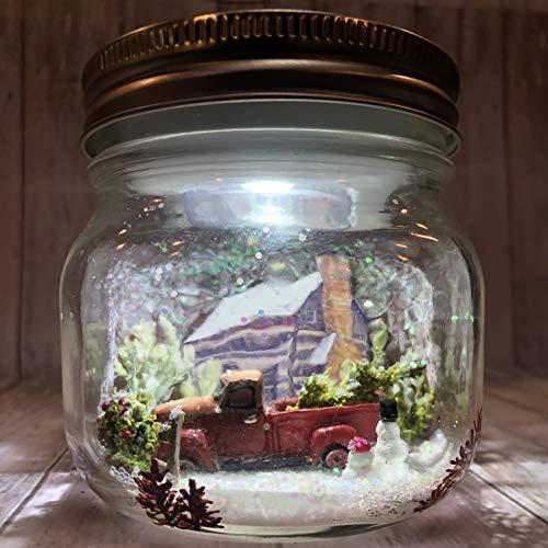 Handmade Rustic Cabin Christmas Theme Mason Jar Snow Globe, Dry Snow Globe LED Night Light. Old Time Truck and Christmas Tree