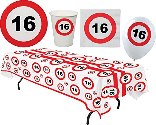 Karneval-Klamotten Party Set XL 45 Teile Geburtstag 16 Jahre Verkehrsschild