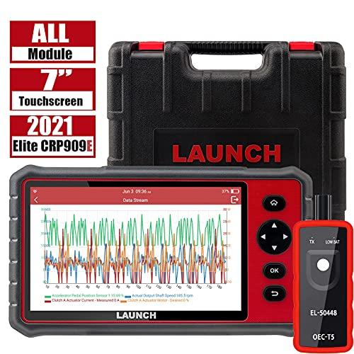 LAUNCH CRP909E OBD2 Escáner WiFi Herramienta de escaneo de diagnóstico de automóvil Sistema Completo TPMS EPB BMS DPF Codificación de inyector IMMO, 15 Función de reinicio, Motor SRS Transmisión ABS
