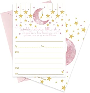 Twinkle Little Star Invitations with Pink Envelopes (15 Pack) Baby Shower or Parties