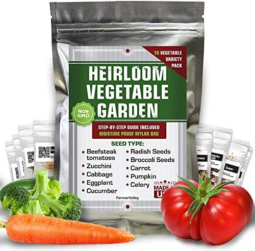 10 Vegetable Seeds Pack 100 Non GMO Heirloom Garden Seeds for Planting Vegetables Tomatoes Cucumber product image