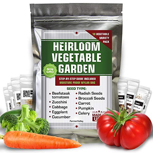 10 Vegetable Seeds Pack - 100% Non GMO Heirloom Garden Seeds for Planting Vegetables - Tomatoes,...