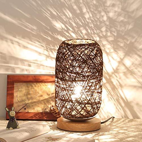 Gift van de Verjaardag LED tafellamp handgemaakte rieten Nachtkastje lamp slaapkamer Decoratie Night Light Children's (Color : Brown)