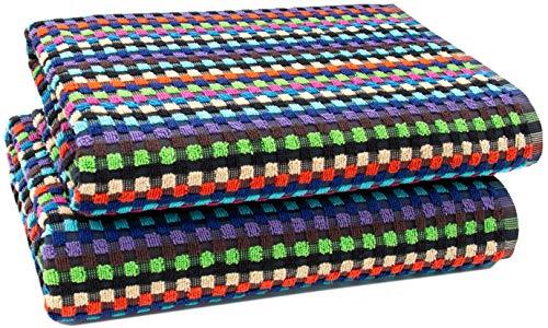 ZOLLNER 2er-Set Duschtücher, 70x140 cm, 100% Baumwolle, 380g/qm, bunt