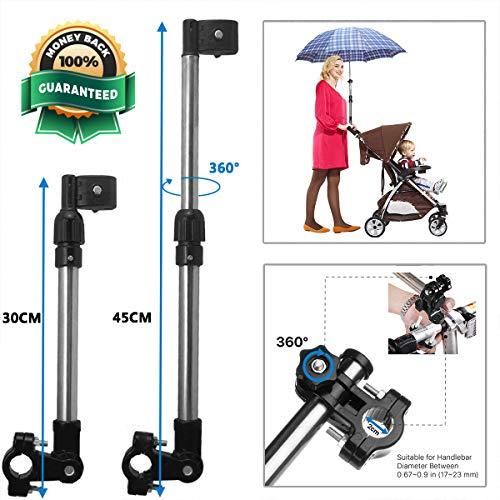 WIKEA Einstellbarer Schirmverbinder, Schirmhalter für Golfwagen, Fahrrad, Kinderwagen, Angeln, Strandkorb, Rollstuhl mit runden Rahmen (Standard)