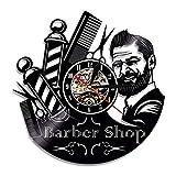 wtnhz LED-Peluquería Reloj de Pared de Vinilo Reloj de decoración en peluquería Reloj de Pared diseño Moderno Reloj 3D decoración de Pared salón de peluquería Nuevo