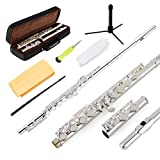 EastRock Closed Hole Flutes C 16 Key for Beginner, Kids, Student Silver Nickel Flute with Case Stand and Cleaning kit