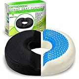 Donut Pillow Tailbone Hemorrhoid Seat Cushion - Memory Foam Butt Pillow Relief Postpartum, Prostate, Coccyx Pain, Sciatica, Hemmoroid, Pregnancy and Bedsore - Cooling Gel Doughnut Pillow for Sitting