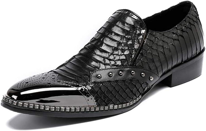FuweiEncore Mans skor, Springaa Fall Slip -Ons och Loafers Loafers Loafers läder skor, Formal skor, Party och amp; Evening  nyhet -skor, trendbara lata skor (färg  svart, storlek  43)  bästa valet