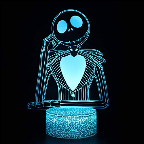 Jack Skellington3D Illusion Lamp Christmas Gift Night Light Bedside Table Lamp,16-Color Dimmable with Remote Smart Touch,Christmas and Birthday Gifts for Boys and Kids