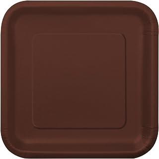 "Unique Industries Brown Square Paper Cake Plates 7"", 16 Ct, 7"""