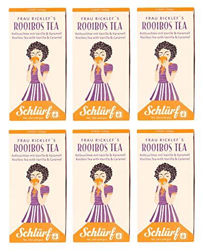6 x Schlürf Büdel Bio Rooibos Tee   120 Teebeutel Roibusch   Sorte Frau Ricklef   Spenderbox   Rotbusch Tea   Rooibostee mit Vanille und Karamell   Tee Beutel einzeln verpackt   240 g
