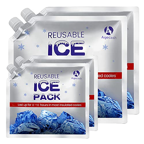 AGECASH A Reusable Ice Packs for Lunch Bags, 2 Small+2 Medium Size Long Lasting Cold Freezer Ice Packs - Keeps Food Cold & Fresh, Perfect for Kids or Adults Lunch Box, Cooler Bags/Backpacks(4 Pack)
