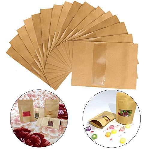 Guanici 100 Pcs Papier Tütchen kraftpapier Wiederverwendbar Papier Food Storage Zip Kleine Papier Beutel Kraftpapiertüte mit Fenster und Boden für Verpackung von Kaffee und Tee Lebensmittel und Snack