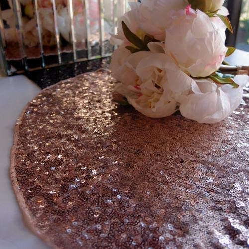 """Quasimoon PaperLanternStore.com 16"""" Copper Sequin Round Table Placemat"""