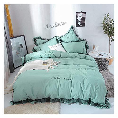 Double duvet cover Duvet Cover Set 4 PCS Washed Cotton Lace Ruffle Bedding Breathable Soft and Comfortable Including Duvet Cover + Sheets + Pillowcase * 2 (Color : Mint Color, Size : 1.5m/1.8m bed)